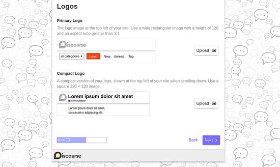 Upload Logo for Discourse website