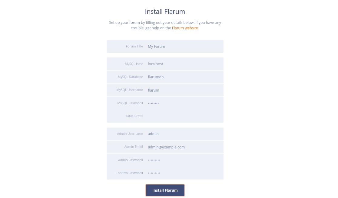 Flarum Forum installer