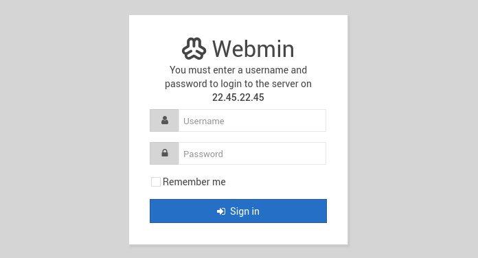 webmin login form