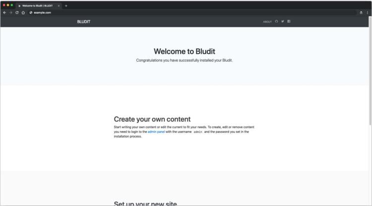 Page 3 - Welcome Bludit