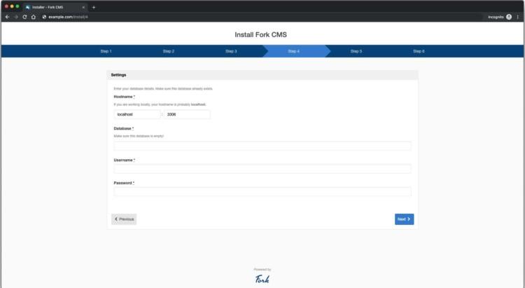 page 4 - Fork CMS Database details