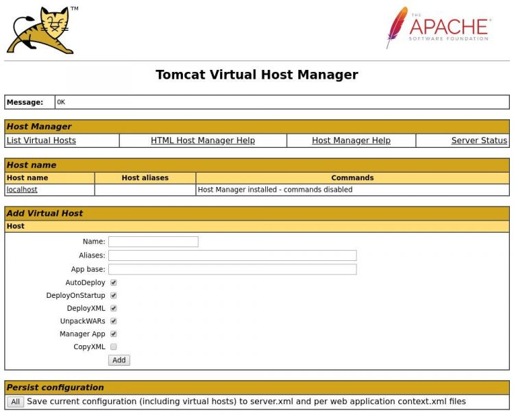 tomcat host manager
