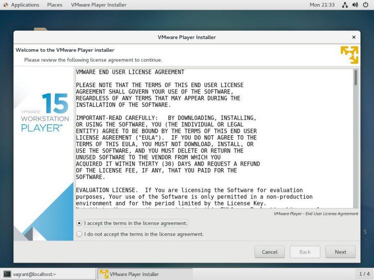 install vmware di centos-accept-license
