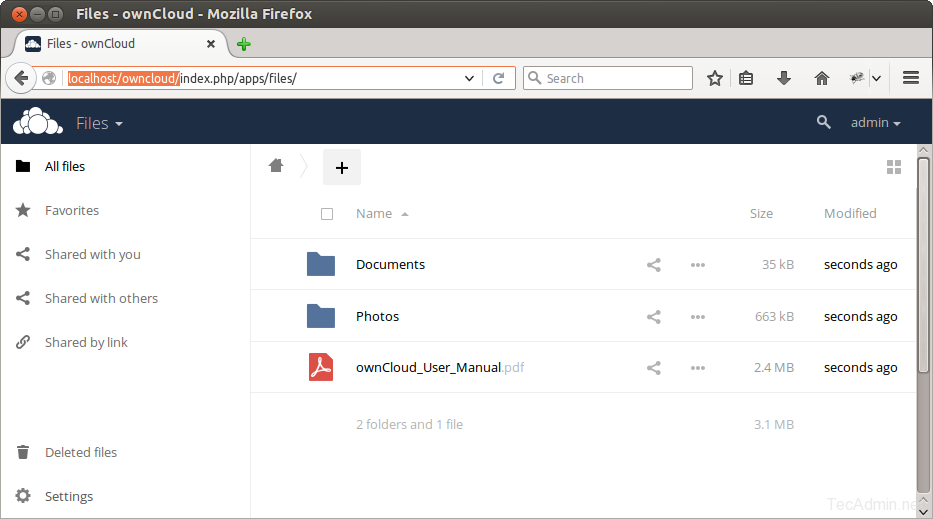 install owncloud after login