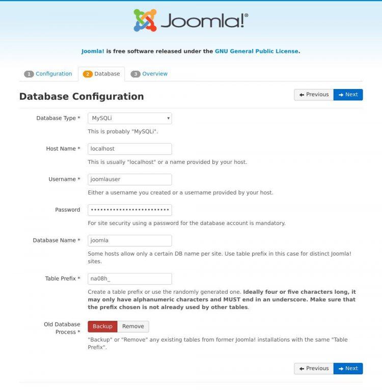 install joomla database