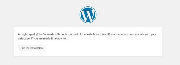 install wordpress centOS run installation