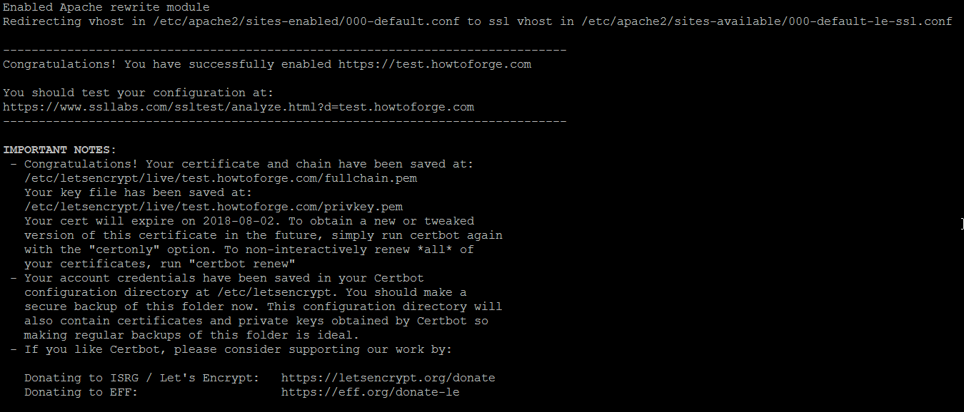 SSL cert issued successfully