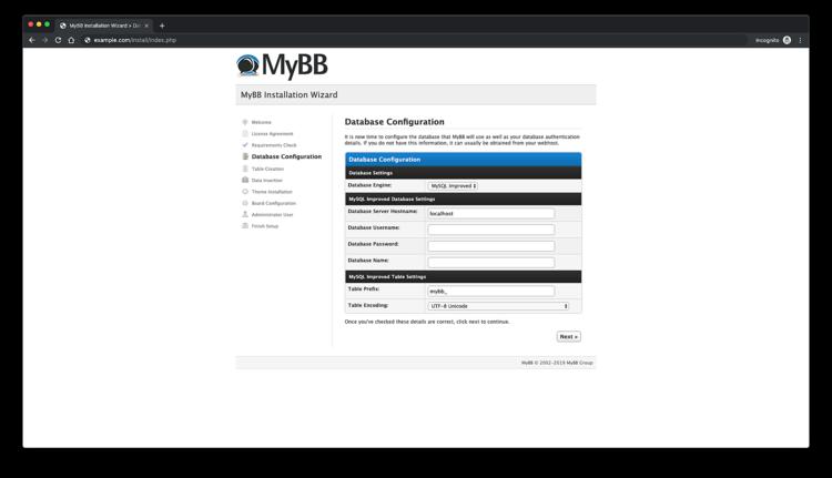 Database configuration