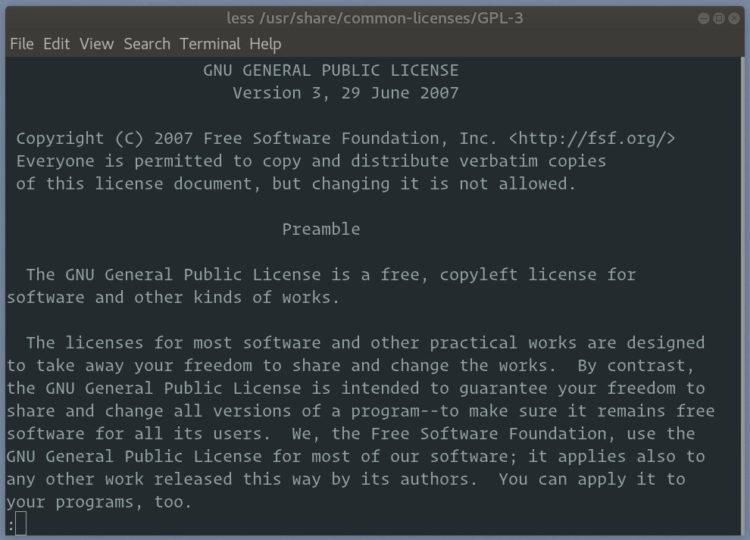 perintah less GPL-3