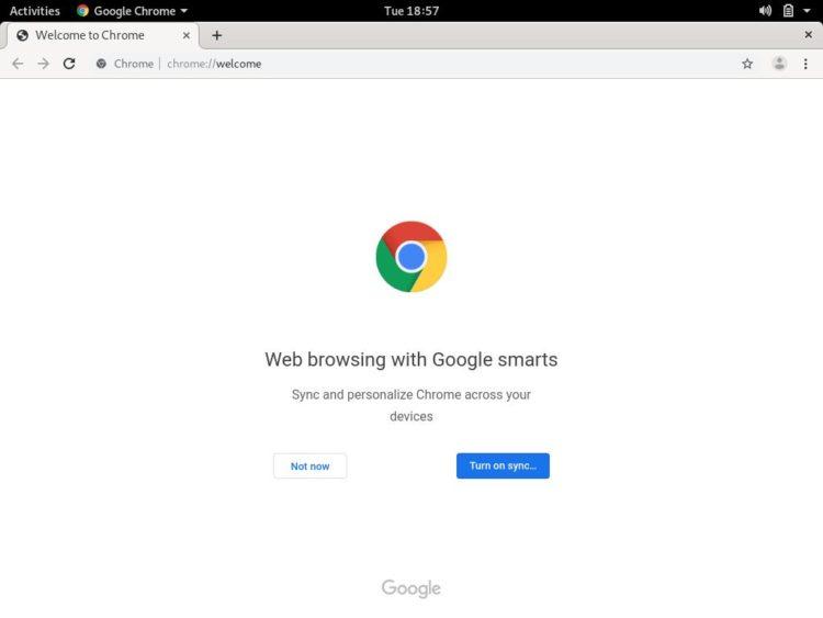 debian google chome welcome page
