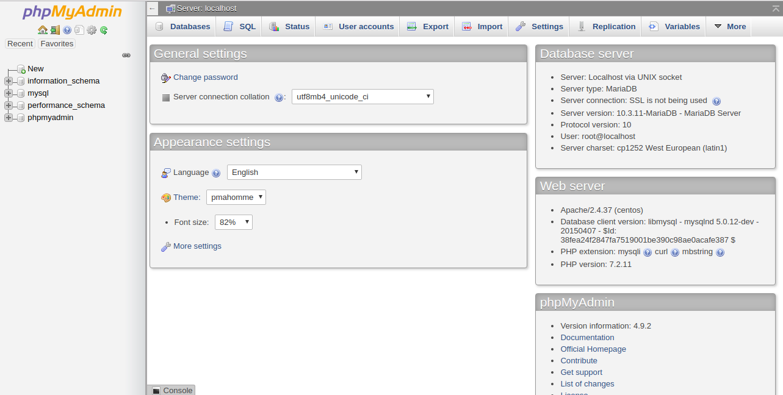 phpMyAdmin database dashboard