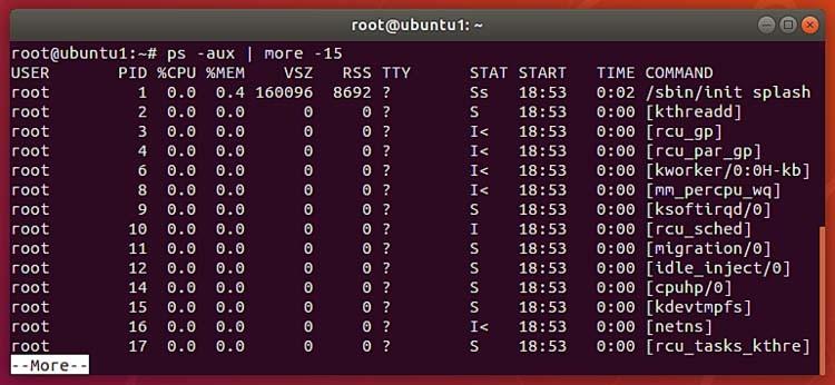 Perintah PS di terminal Ubuntu 2