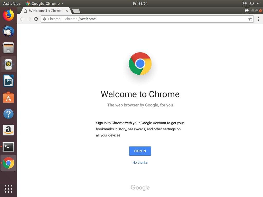 Google Chrome Welcome Page Ubuntu
