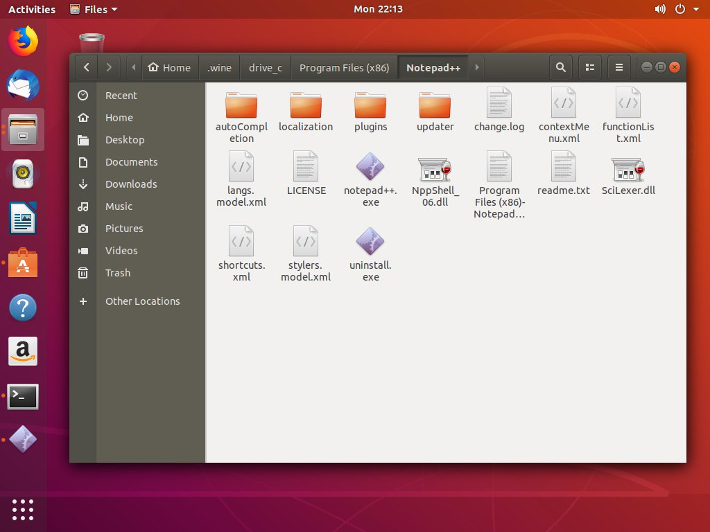 ubuntu notepadpp start