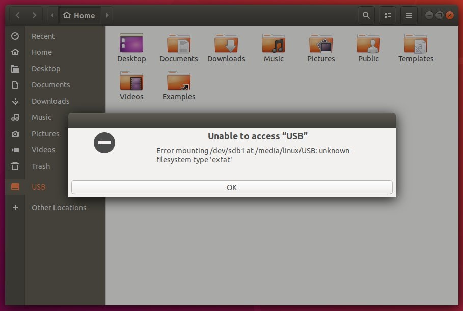 ubuntu unknown filesystem type exfat