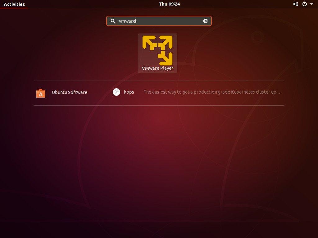 ubuntu vmware activities