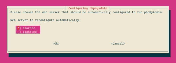 Konfigurasi web server phpmyadmin