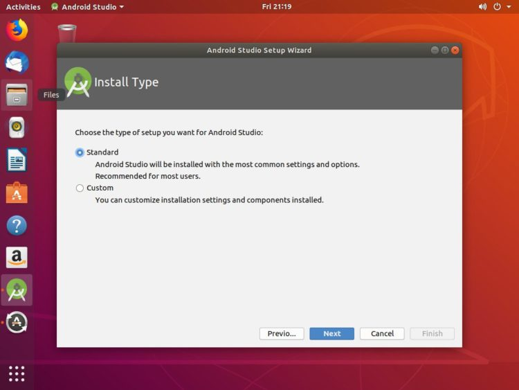 ubuntu android studio setup type
