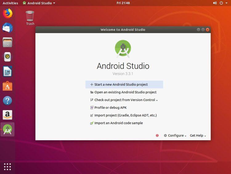 ubuntu android studio welcome page