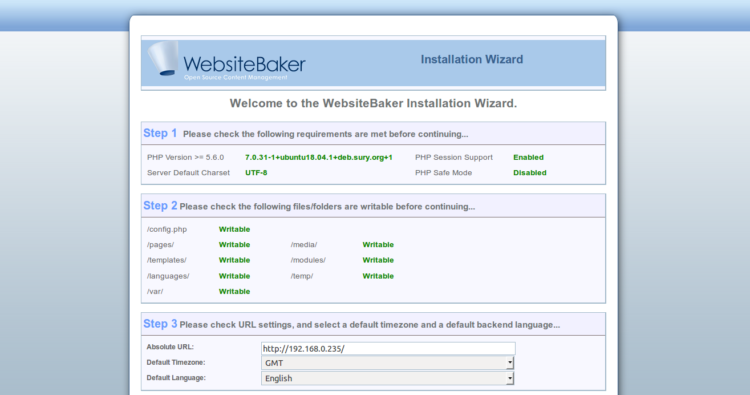 Page 1 - WebsiteBaker Installation Wizard