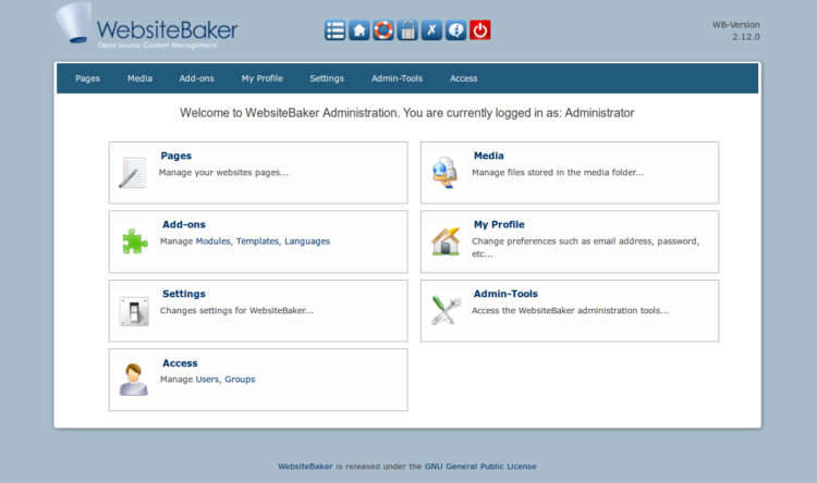 Page 5 - WebsiteBaker Admin interface