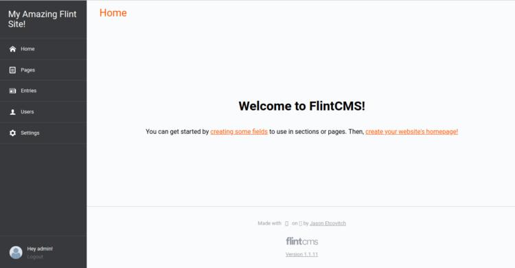 Flint CMS Dashboard